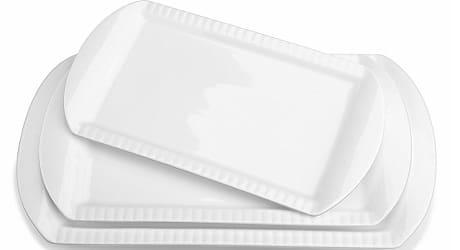 LIFVER Large Porcelain Embossed Rectangular Platter